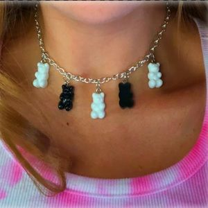 Black and white gummy bear necklace